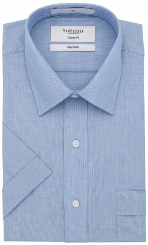 Save $15 Van Heusen Short Sleeve Shirt Classic Fit in Plain Blue