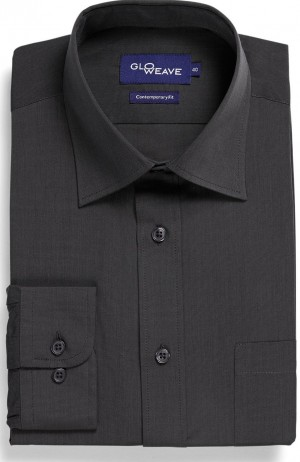 Gloweave Plain Shirt Contemporary Fit. Choice of Silver or Slate