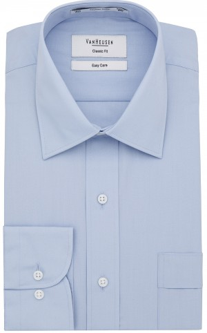 Save $15 Van Heusen Plain Shirt. Multiple Sleeve Lengths. White, Sky, Black.