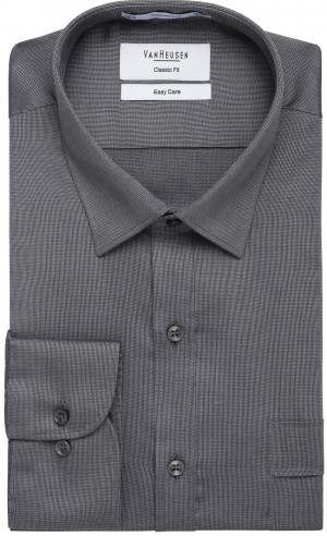Save $15 Van Heusen Textured Weave Multiple Sleeve Lengths Lilac, Charcoal, Navy, Blue, White, Silver