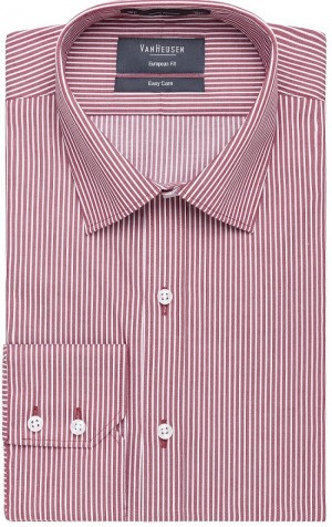 Van Heusen European Fit Striped Shirt Black Red Sky